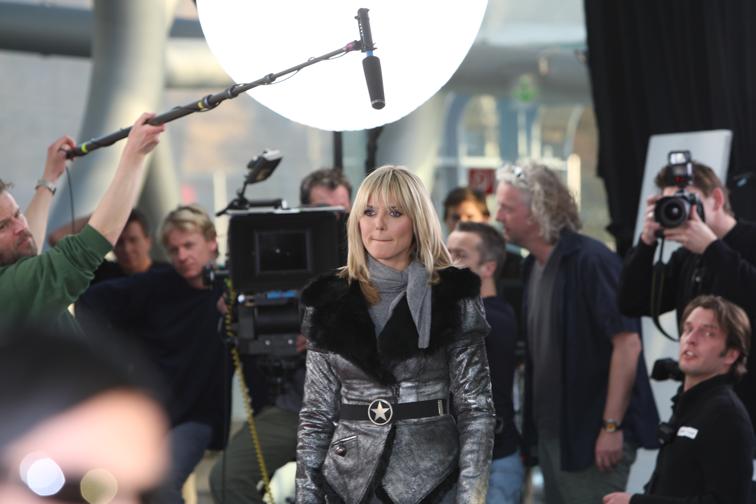 Dreharbeiten mit Heidi Klum